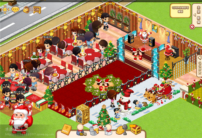 qq餐厅圣诞节喜庆装修