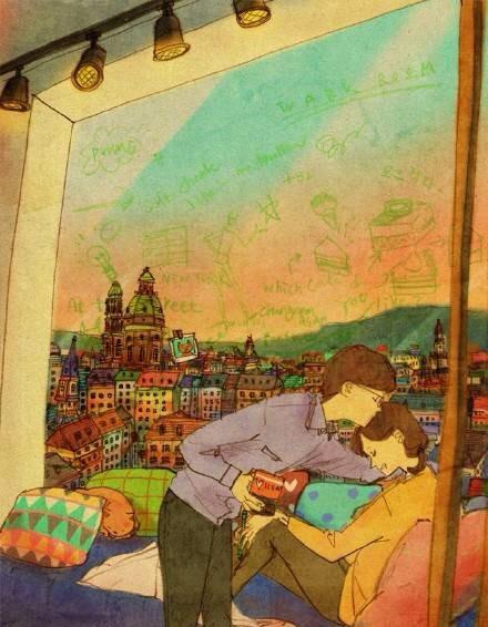 有爱的手绘情侣漫画故事 情侣最新的壁纸图片