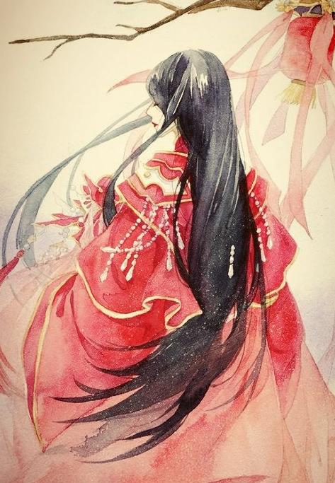 古风图片女子红衣霸气图片大全集 待浮花浪蕊俱尽伴君