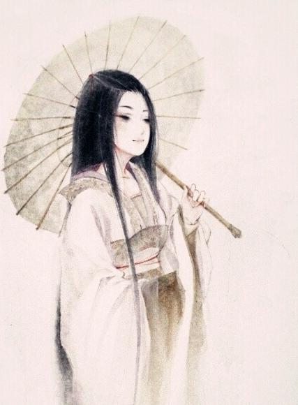 古风图片女子白衣撑伞好看的